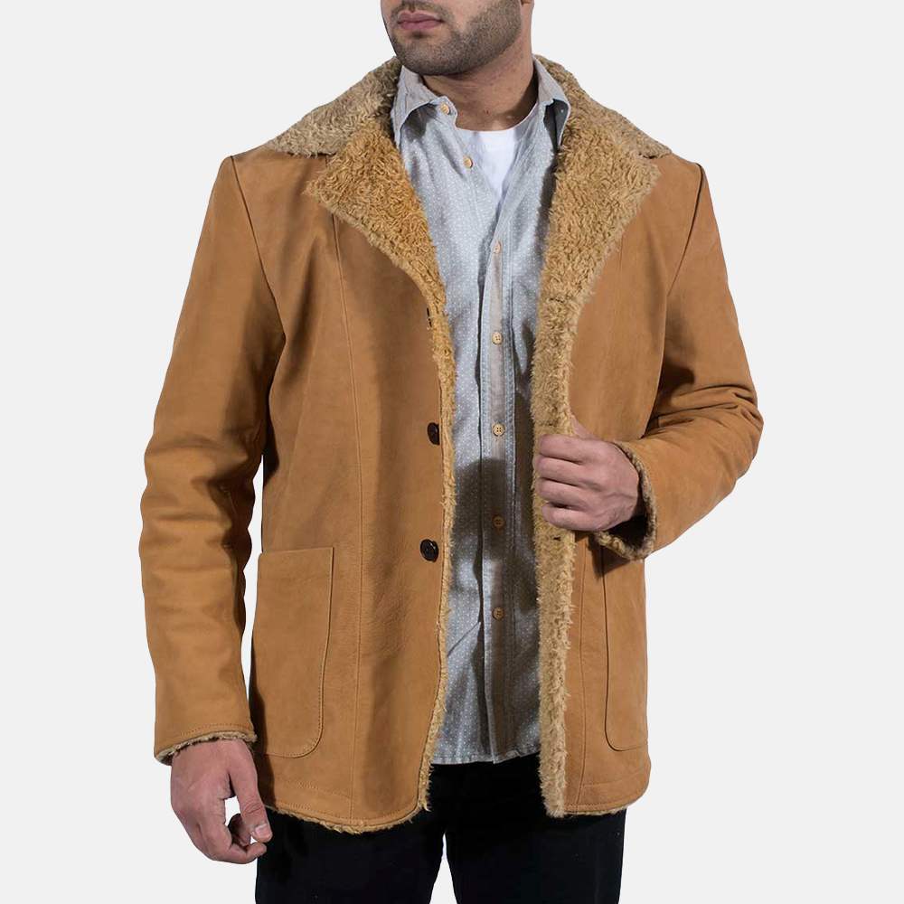 Mens Wheatabon Beige Fur Coat 2