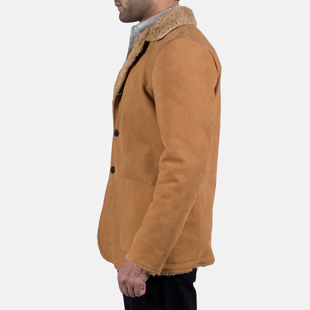 Mens Wheatabon Beige Fur Coat 4