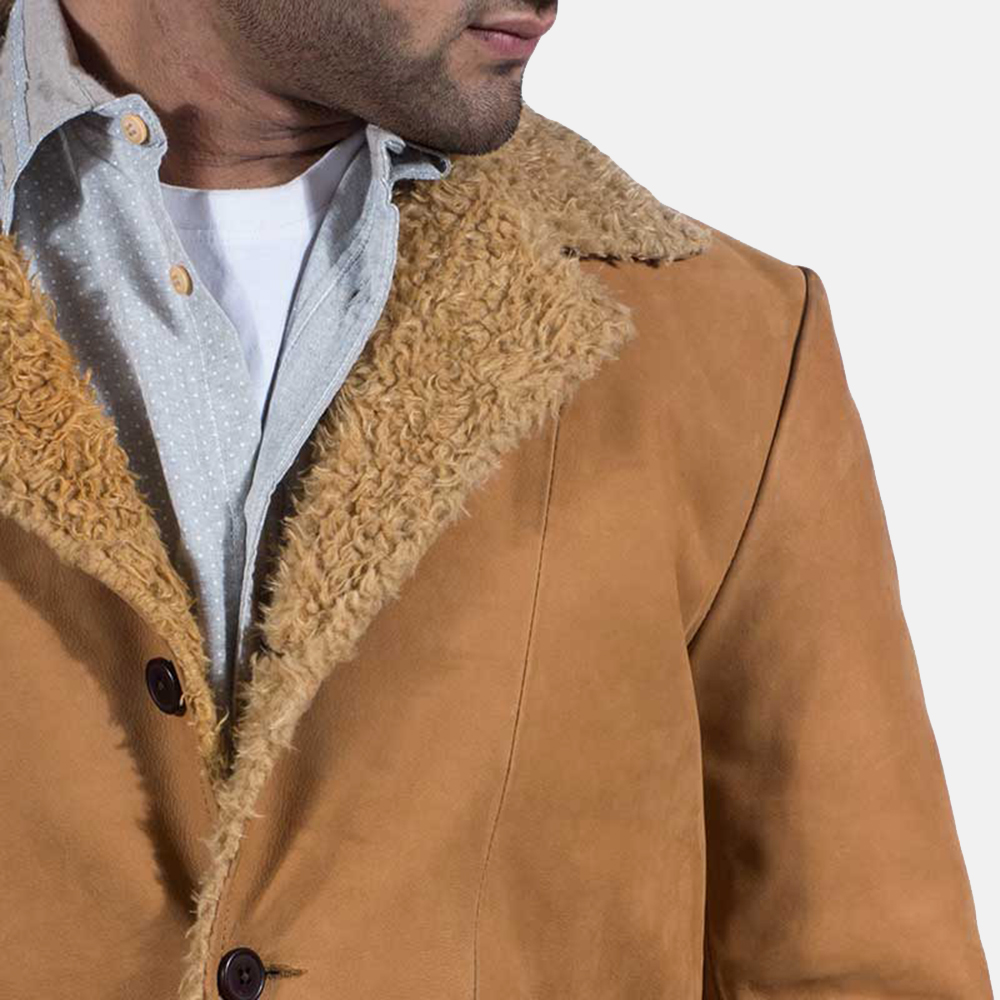 Mens Wheatabon Beige Fur Coat 3