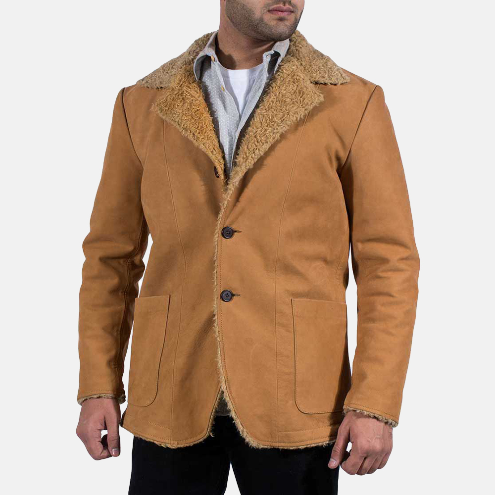 Mens Wheatabon Beige Fur Coat 1