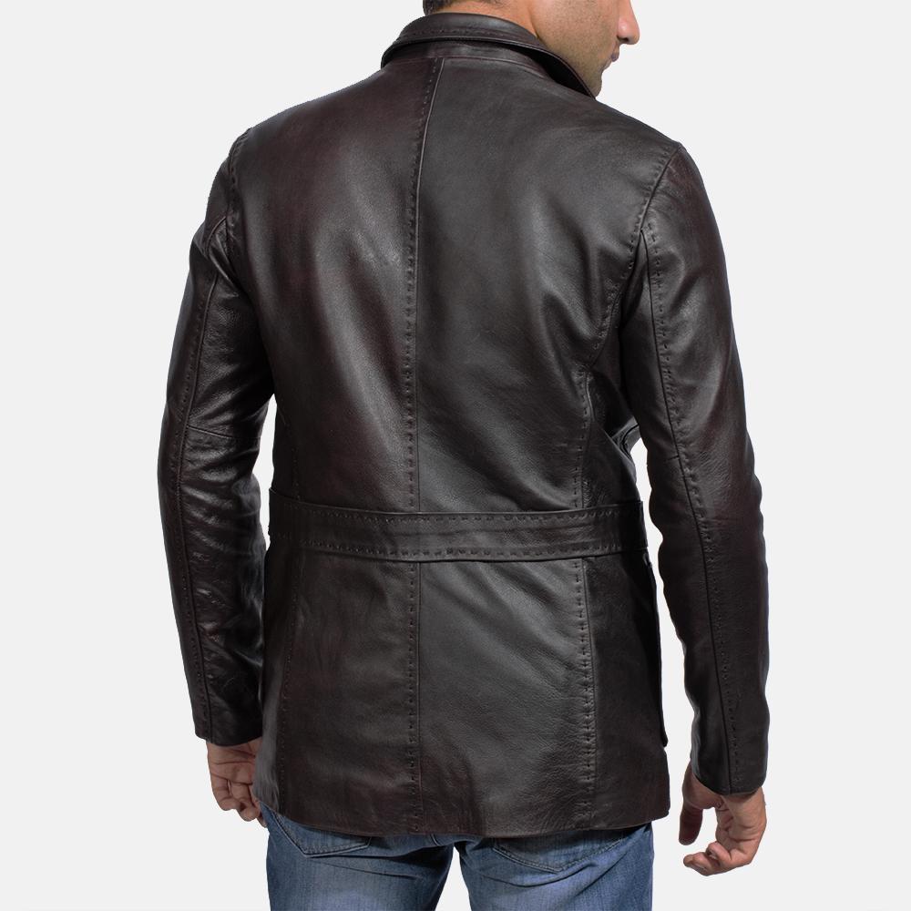 Mens Wine Black Leather Blazer 4