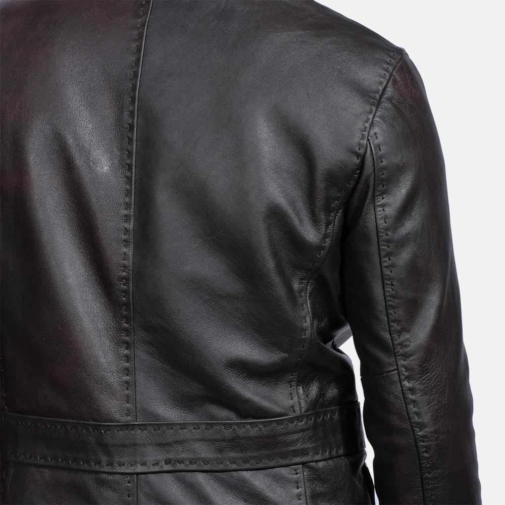 Mens Wine Black Leather Blazer 5