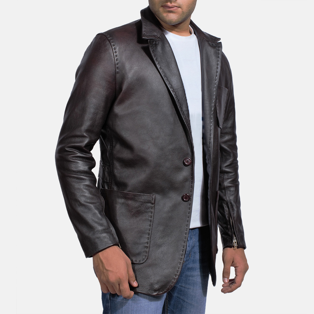 Mens Wine Black Leather Blazer 3