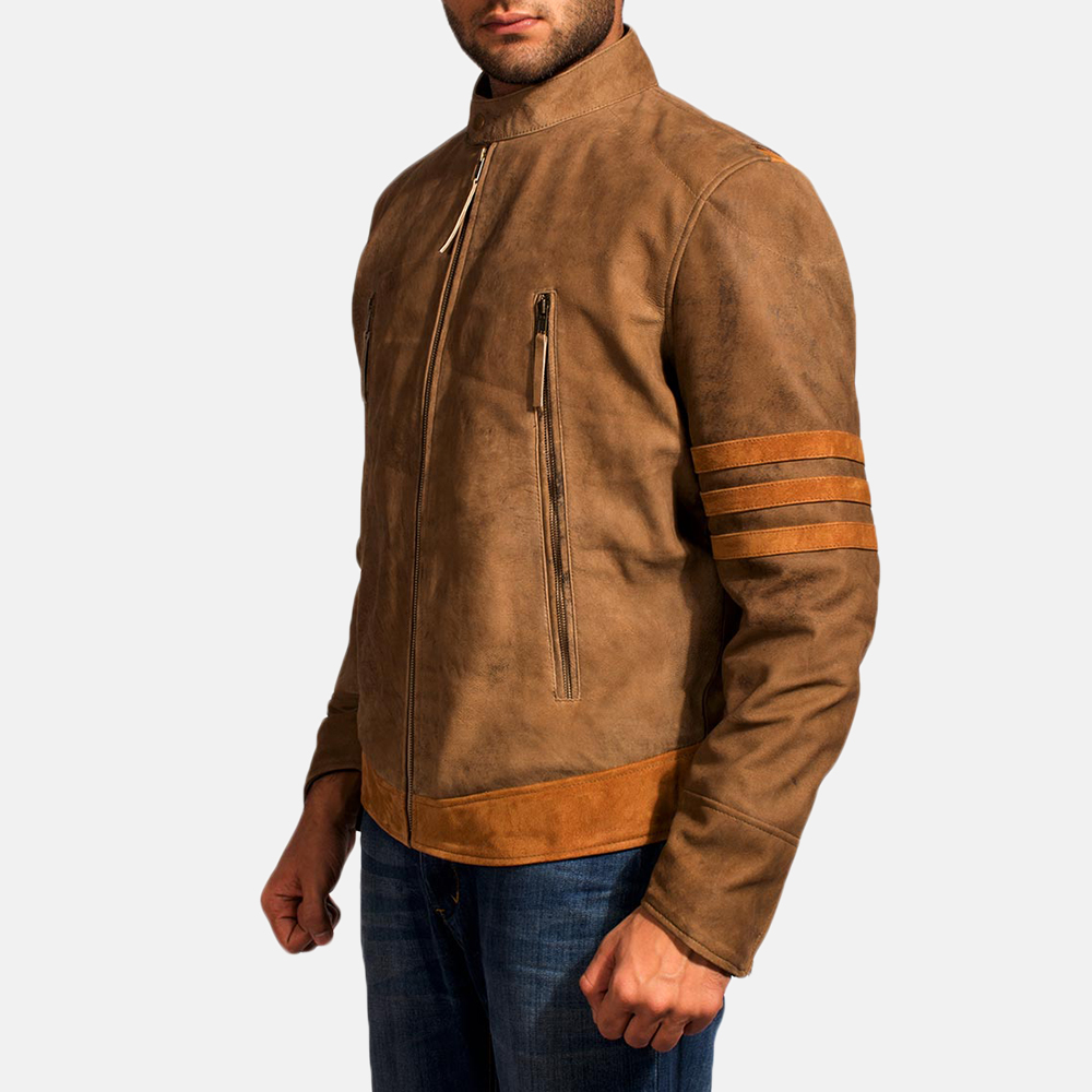 Mens Wolf Brown Leather Jacket 3