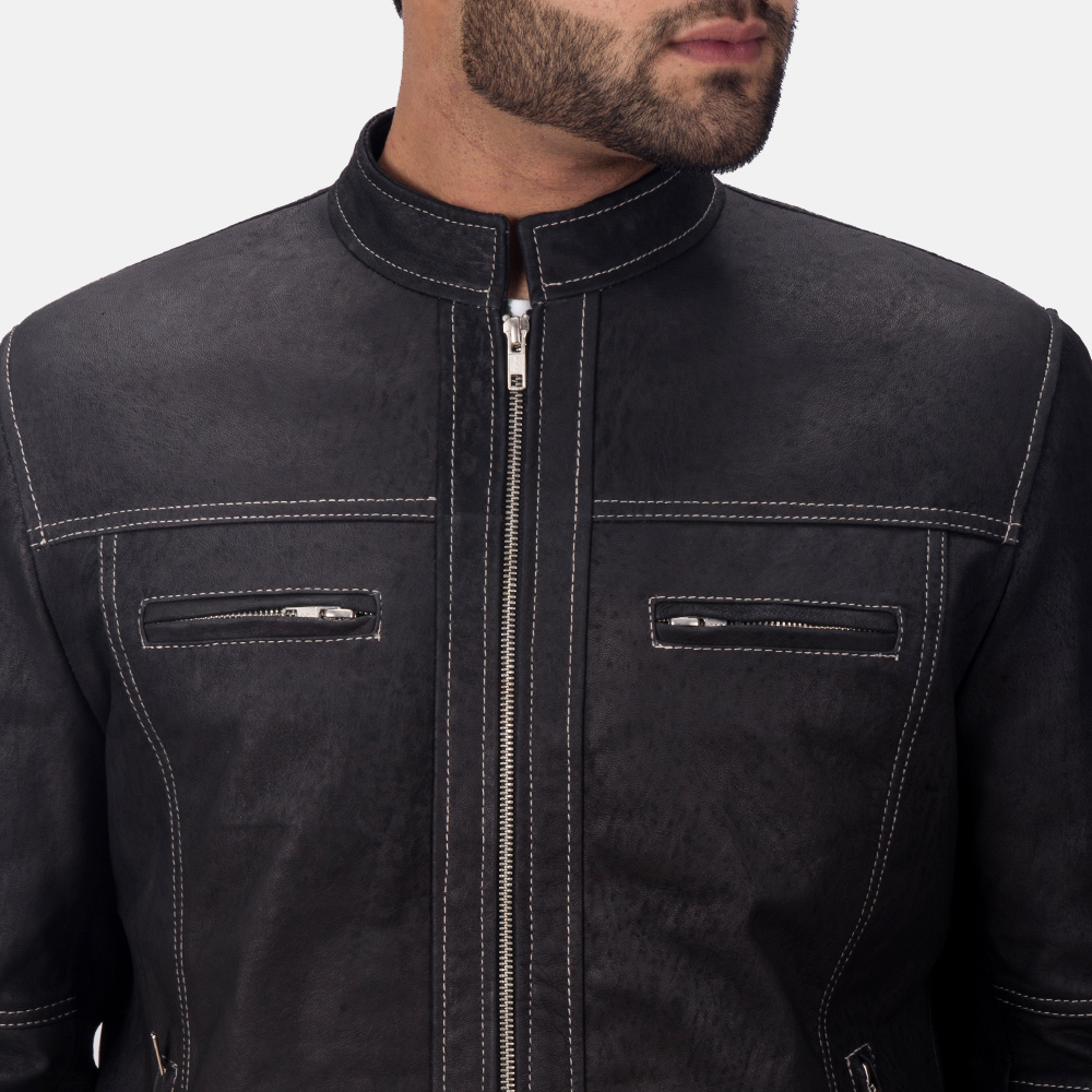Mens Youngster Black Leather Jacket 6
