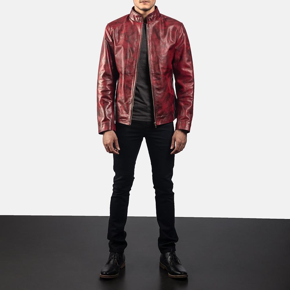 Mens Alex Distressed Burgundy Leather Jacket 5
