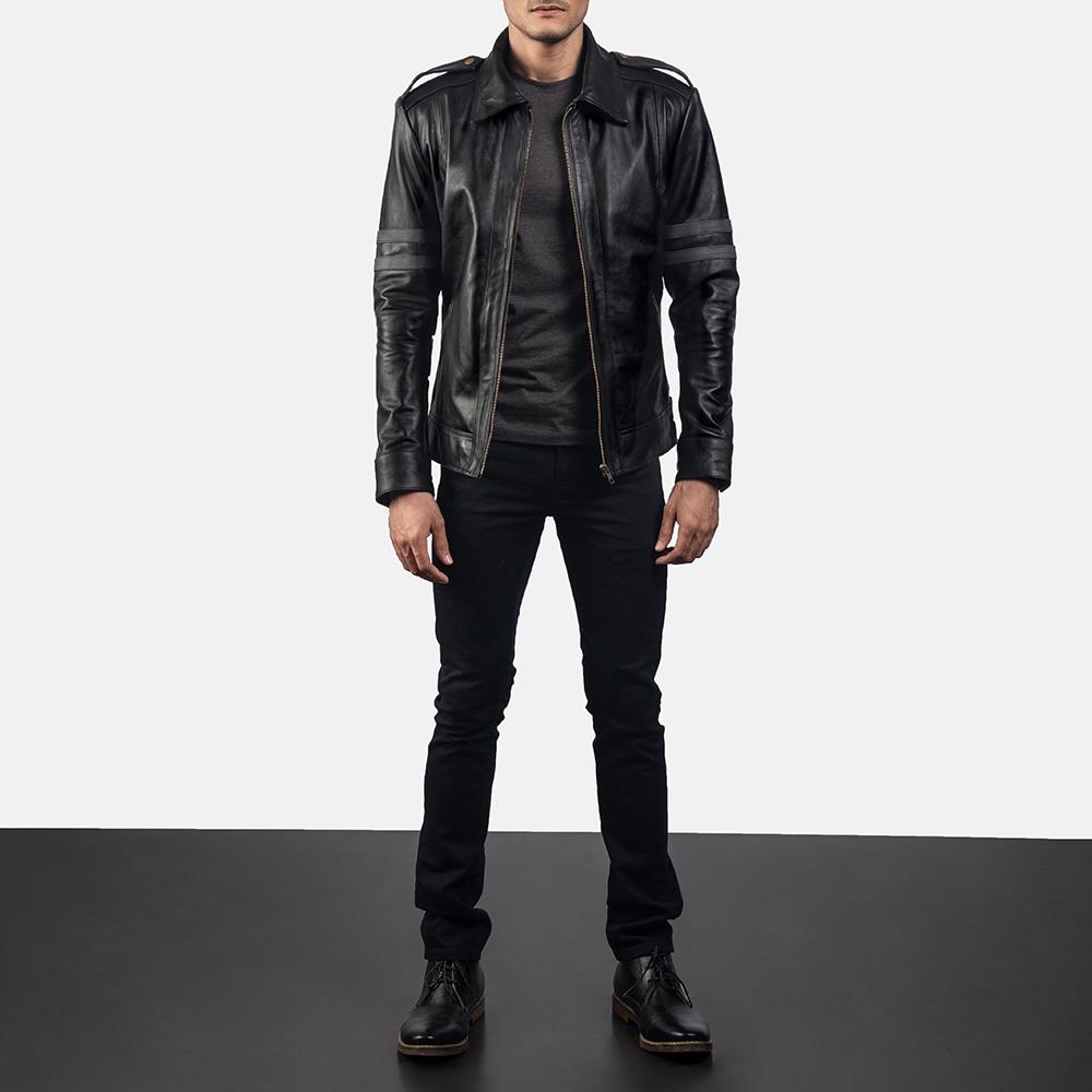 Mens Armstrong Black Leather Biker Jacket 6