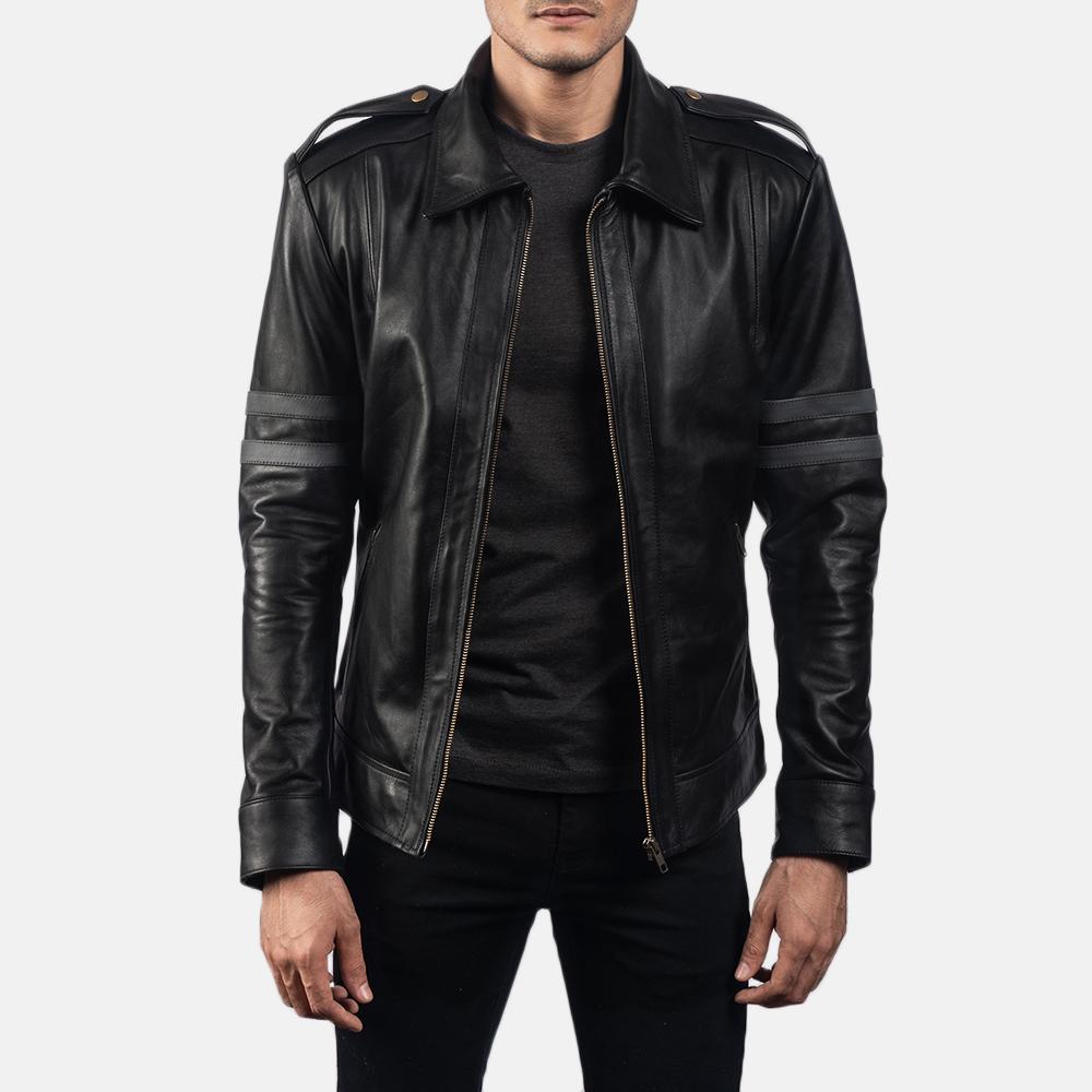 Mens Armstrong Black Leather Biker Jacket 1