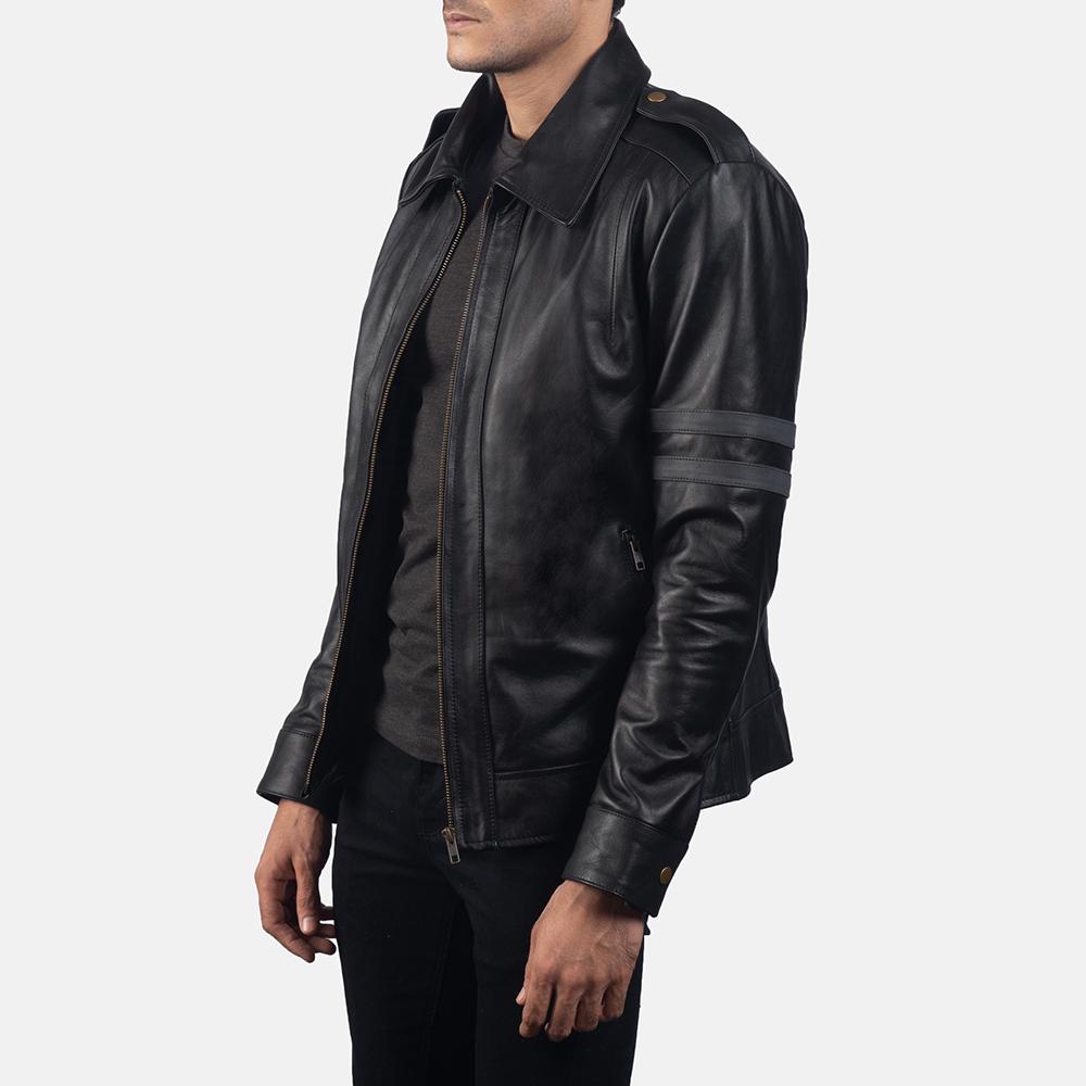 Mens Armstrong Black Leather Biker Jacket 2