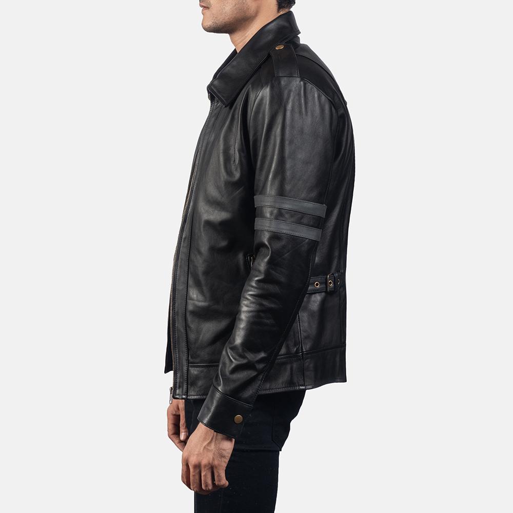 Mens Armstrong Black Leather Biker Jacket 3