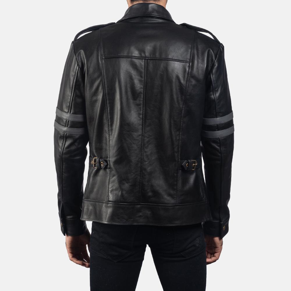 Mens Armstrong Black Leather Biker Jacket 4