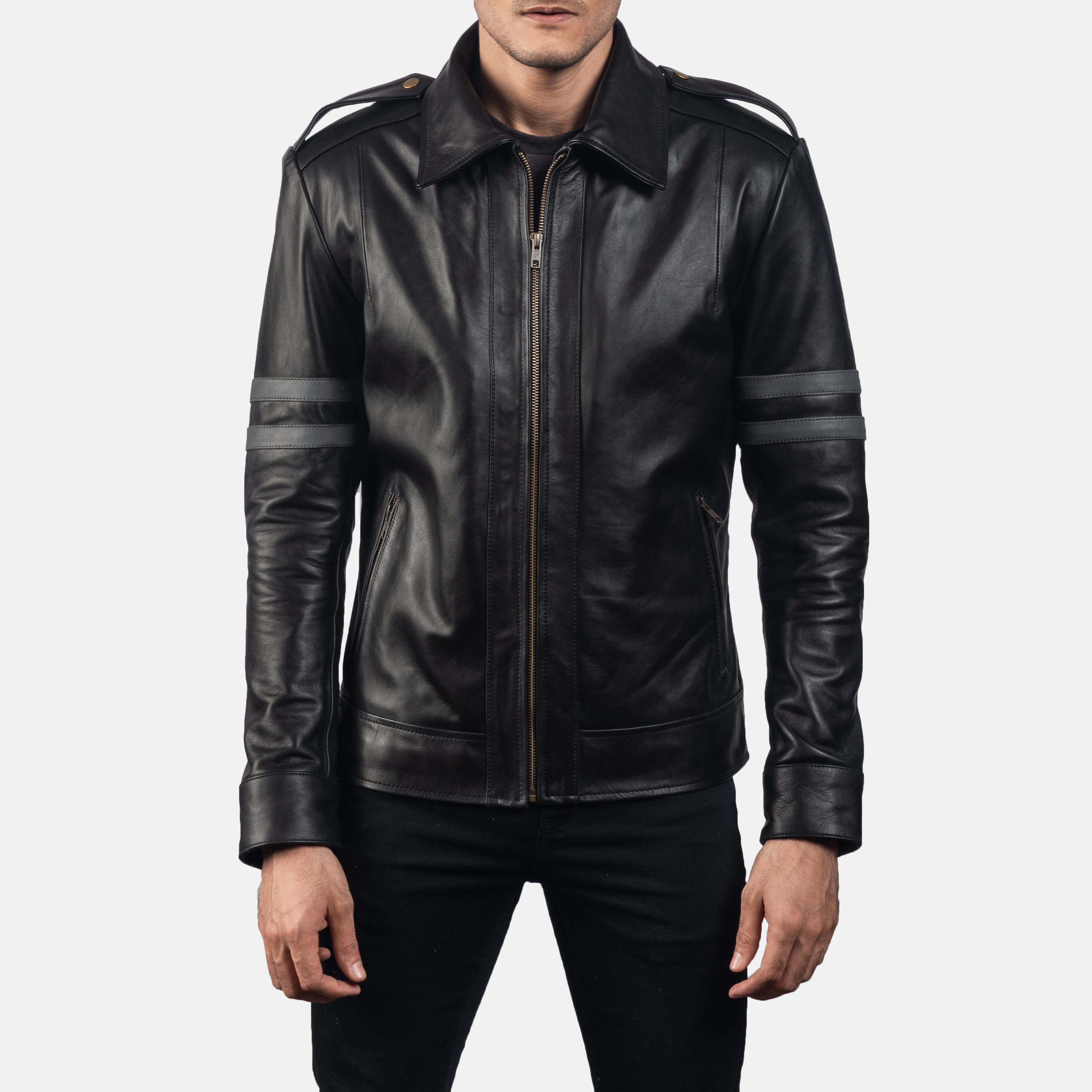Mens Armstrong Black Leather Biker Jacket 5