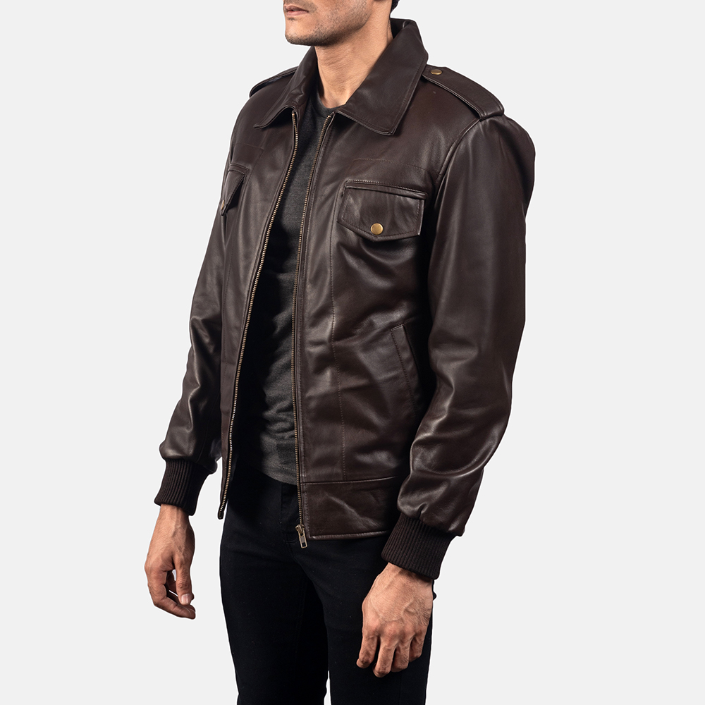 Mens Chocolate Rumble Leather Bomber Jacket 2