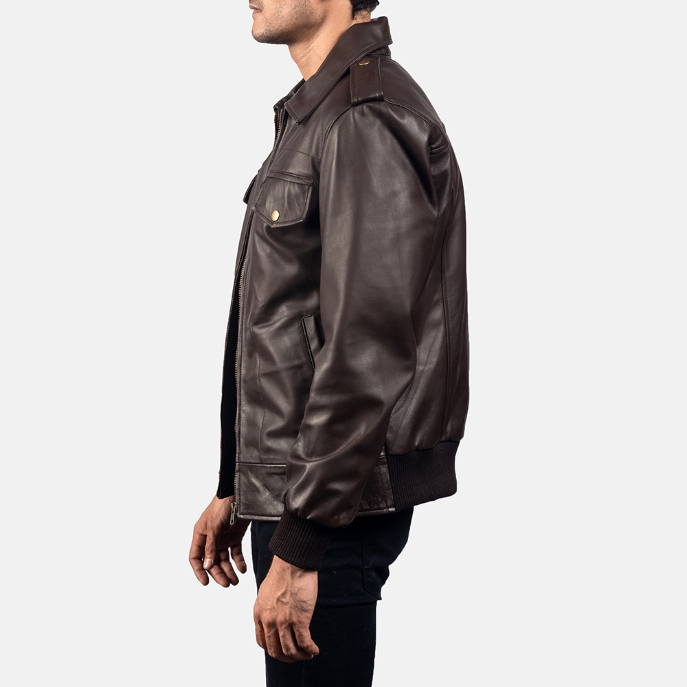 Mens Chocolate Rumble Leather Bomber Jacket 3