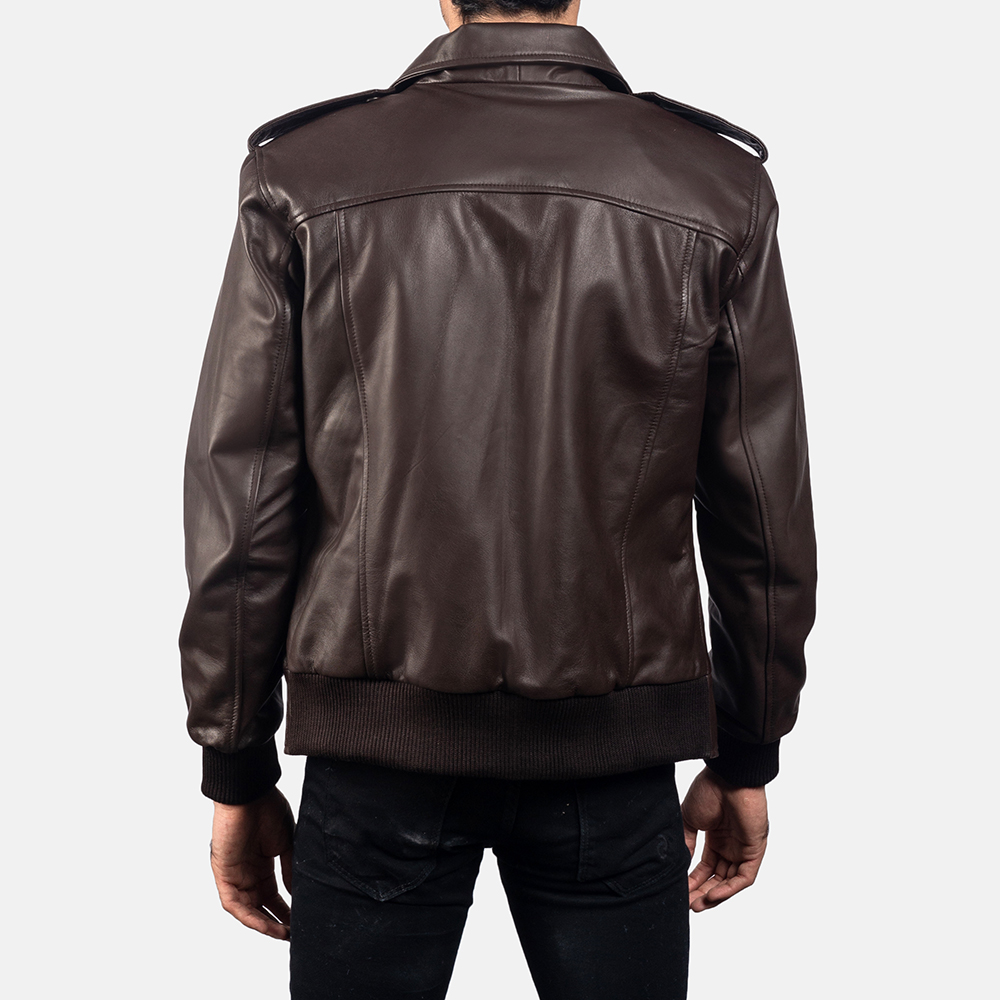 Mens Chocolate Rumble Leather Bomber Jacket 4