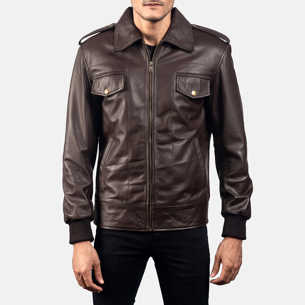 Mens Chocolate Rumble Leather Bomber Jacket 5