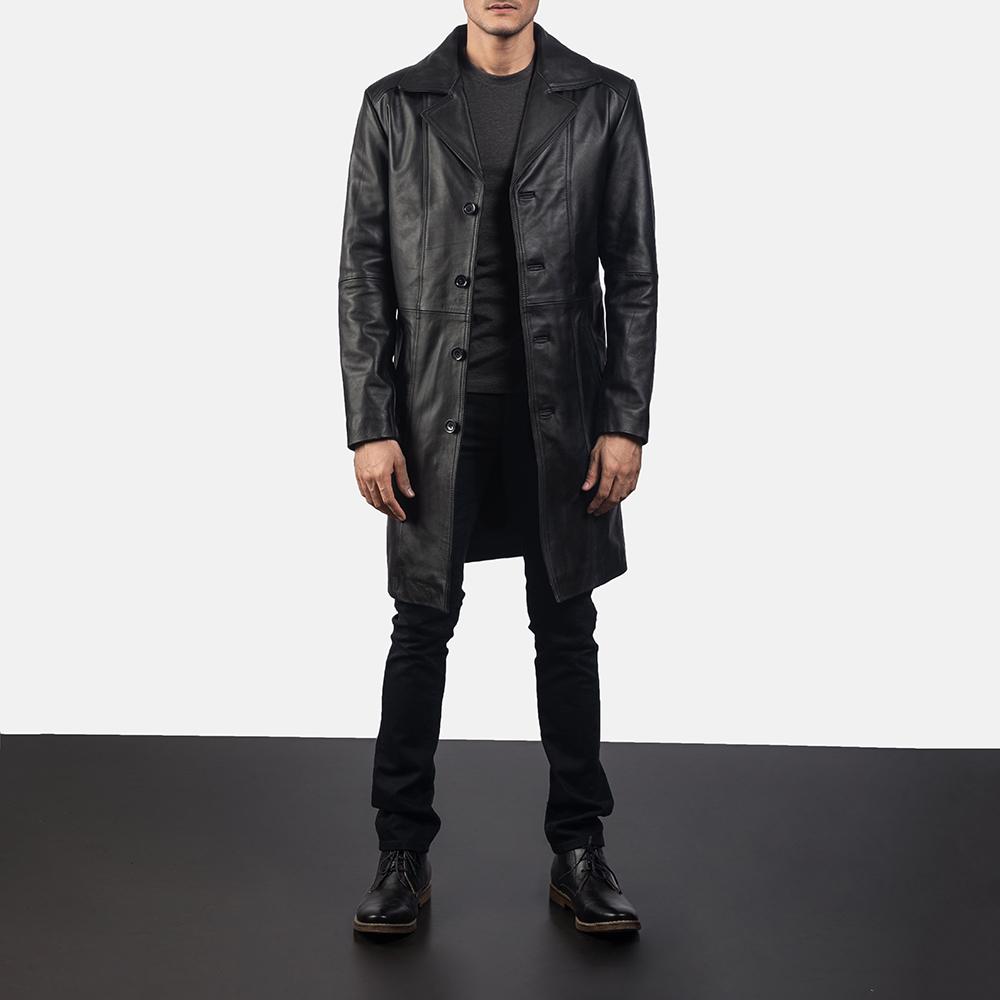 Mens Don Long Black Leather Coat 6