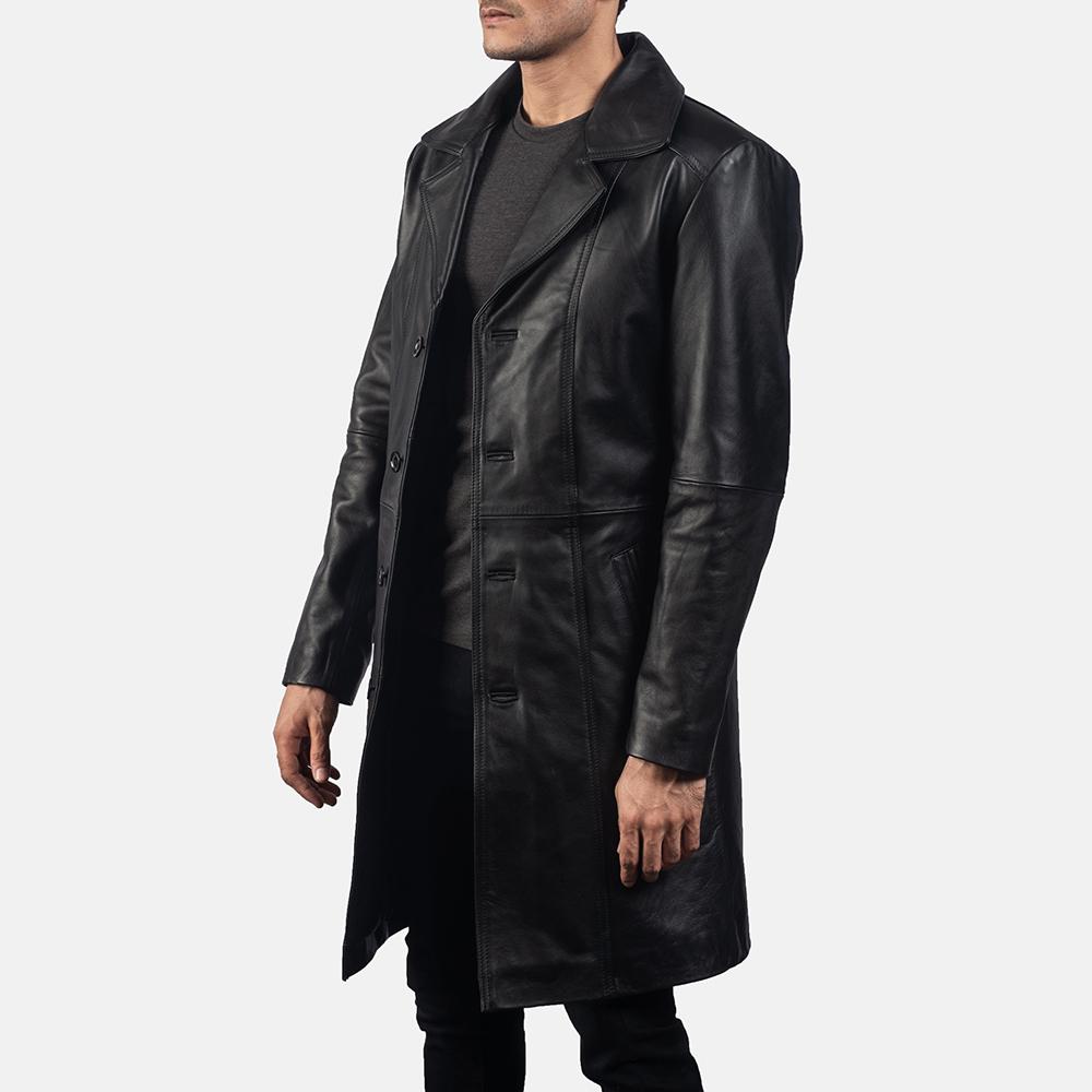 Mens Don Long Black Leather Coat 2