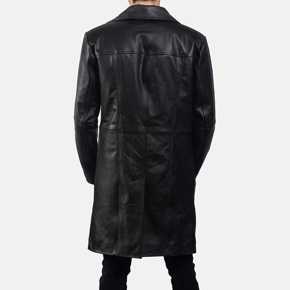 Mens Don Long Black Leather Coat 4