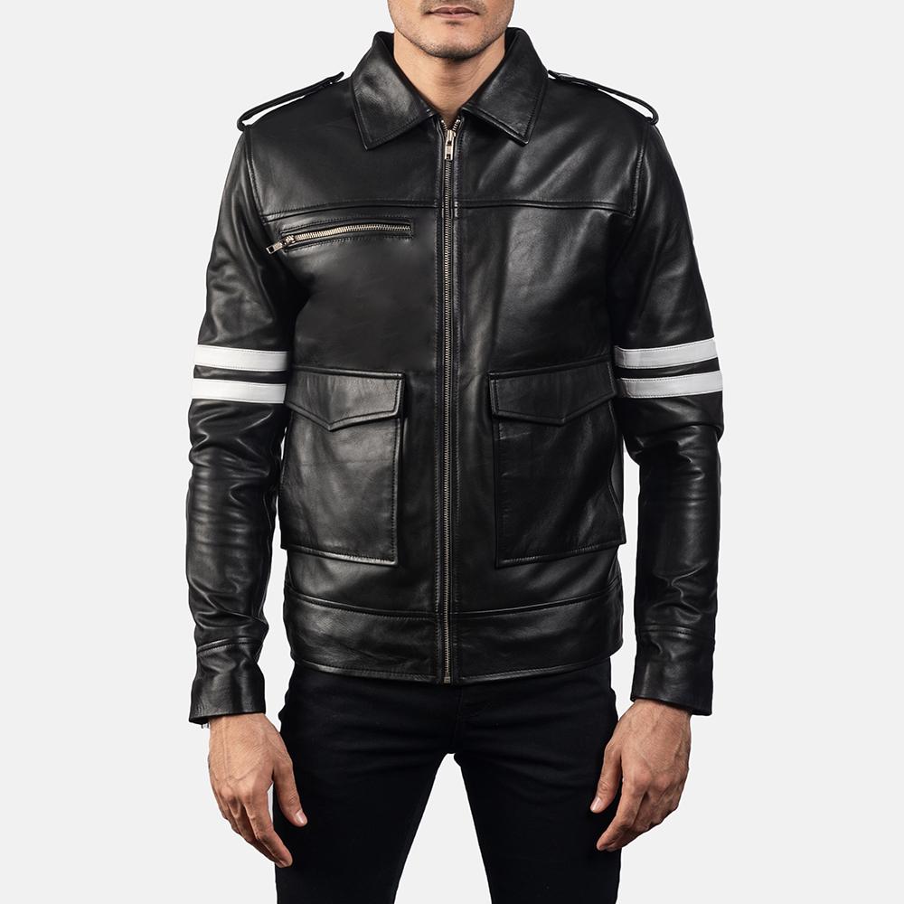Mens Dragonhide Black Leather Jacket 5