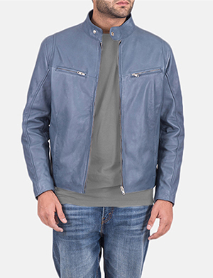Mens Ionic Blue Leather Jacket