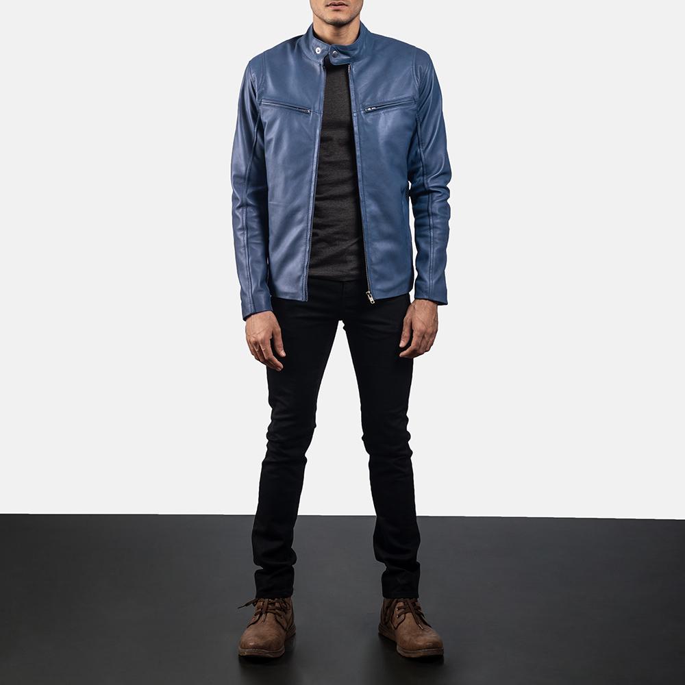 Mens Ionic Blue Leather Jacket 6