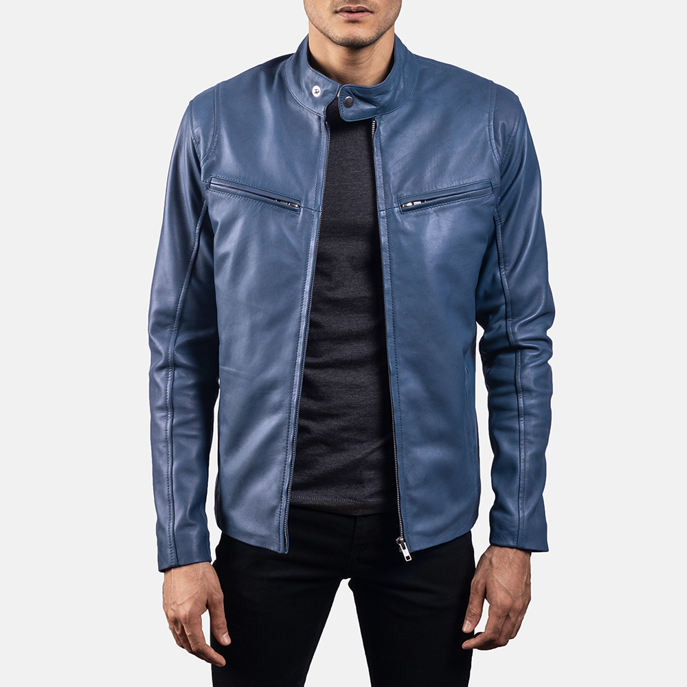 Mens Ionic Blue Leather Jacket 1