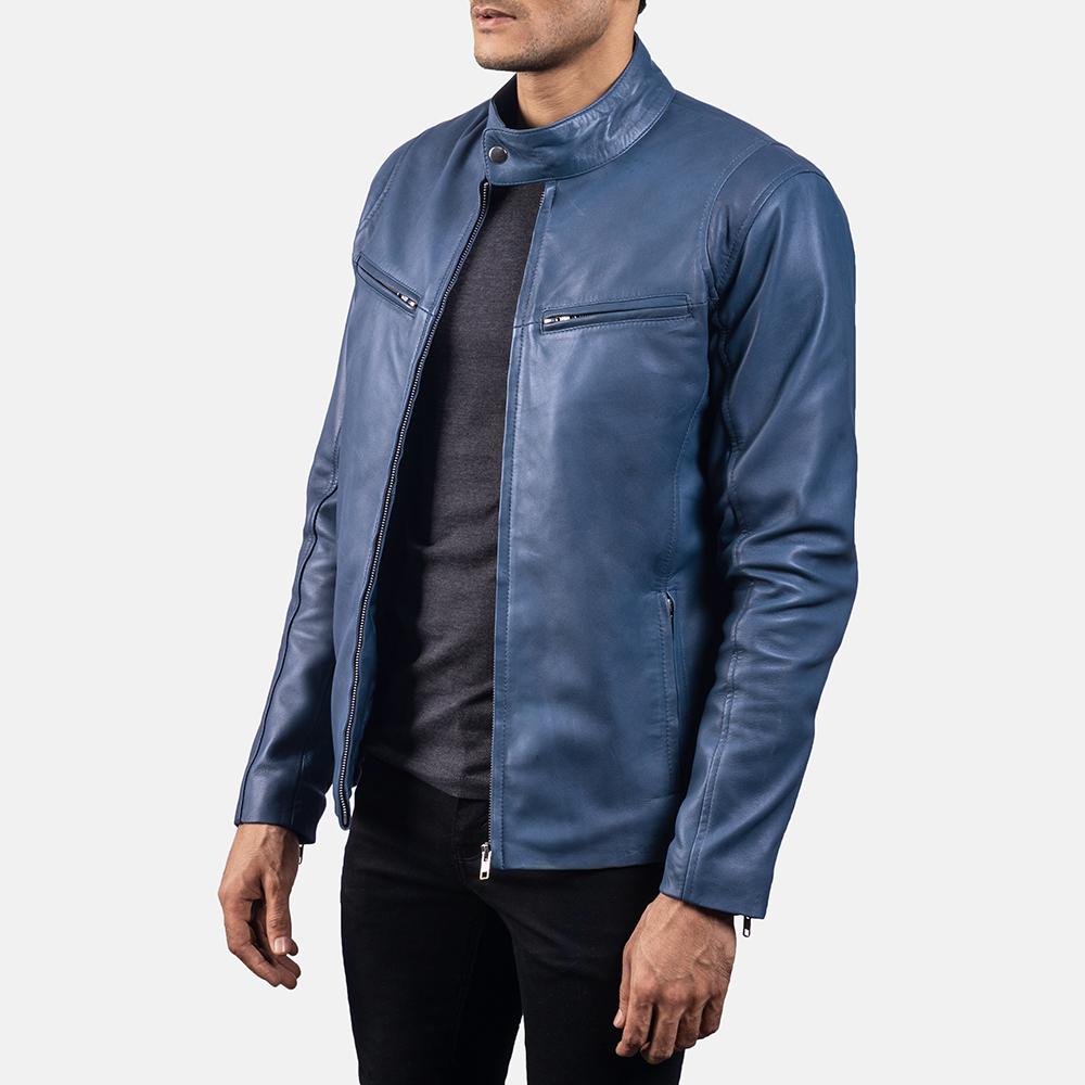 Mens Ionic Blue Leather Jacket 2