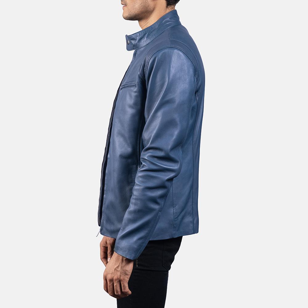 Mens Ionic Blue Leather Jacket 3