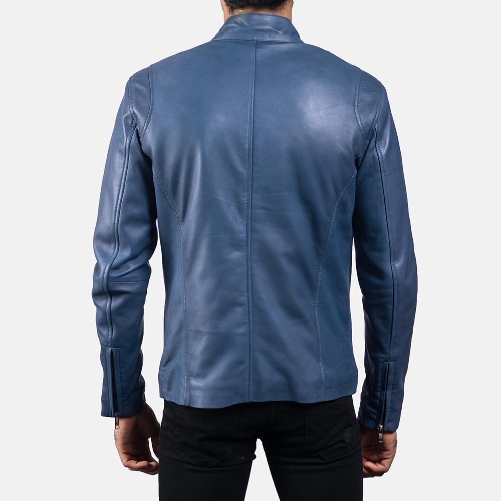 Mens Ionic Blue Leather Jacket 4