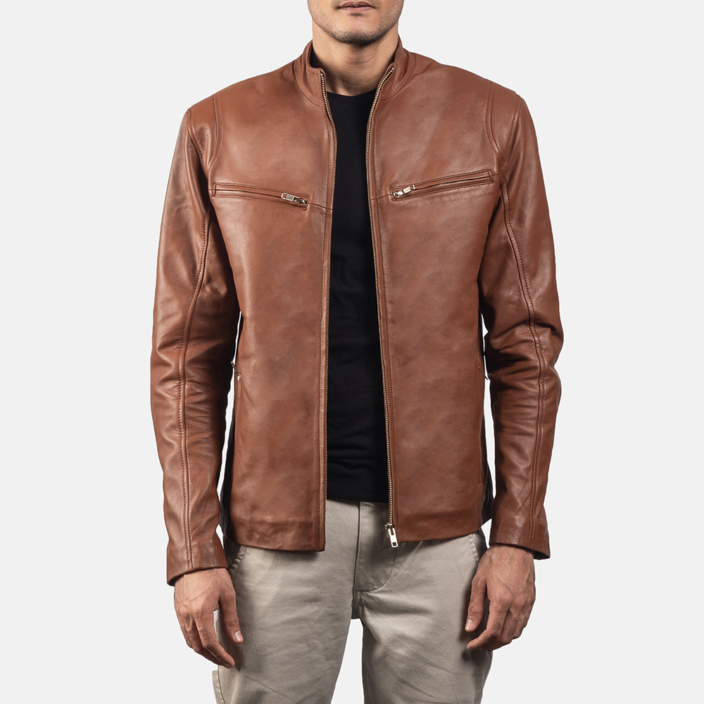 Mens Ionic Brown Leather Jacket 1