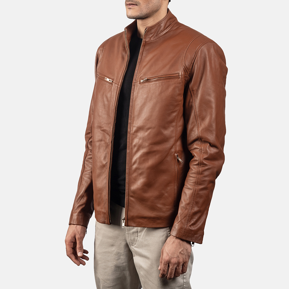 Mens Ionic Brown Leather Jacket 2