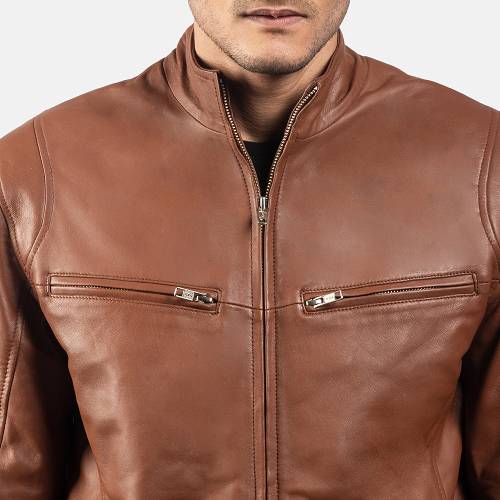Mens Ionic Brown Leather Jacket 6