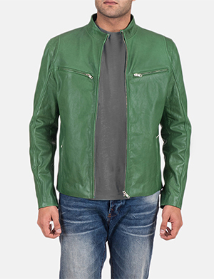 Mens Ionic Green Leather Jacket