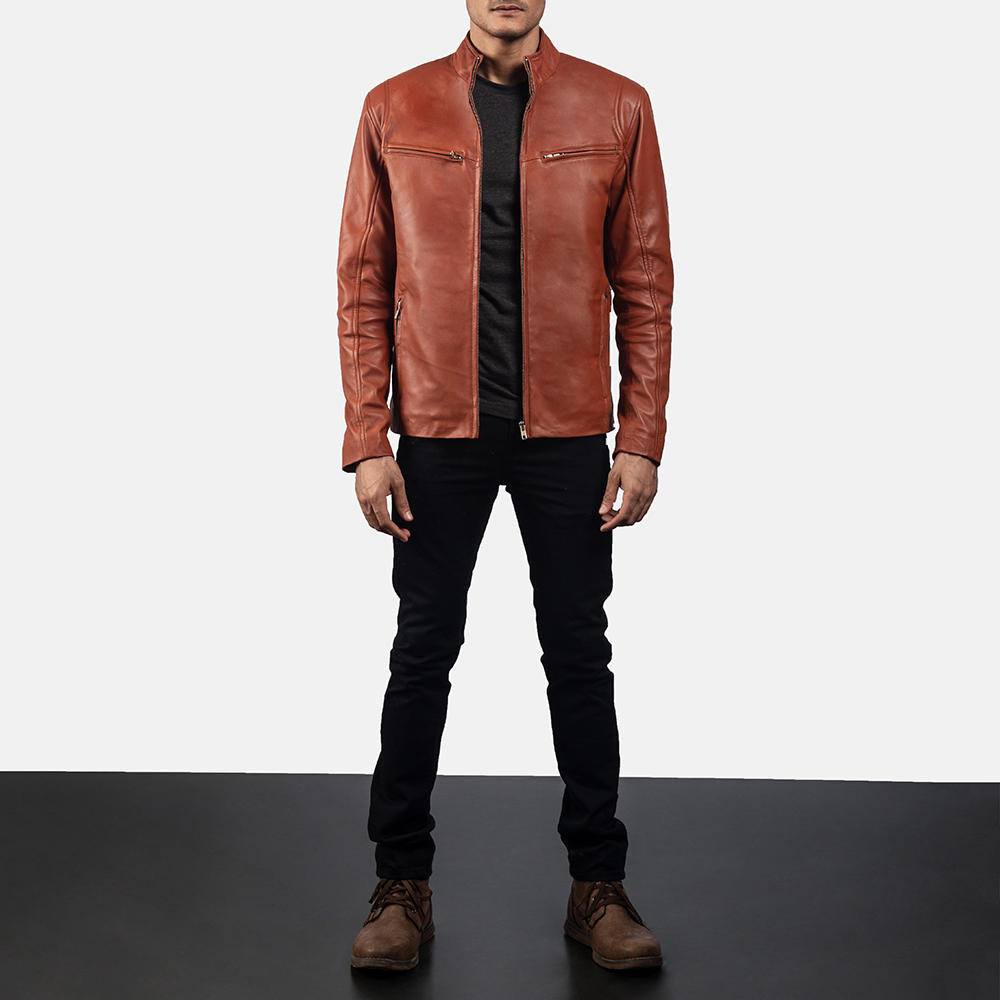 Mens Ionic Tan Brown Leather Jacket 6