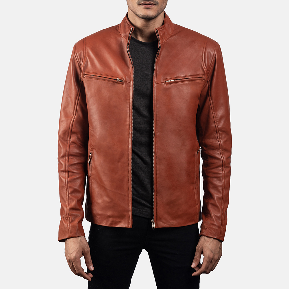 Mens Ionic Tan Brown Leather Jacket 1