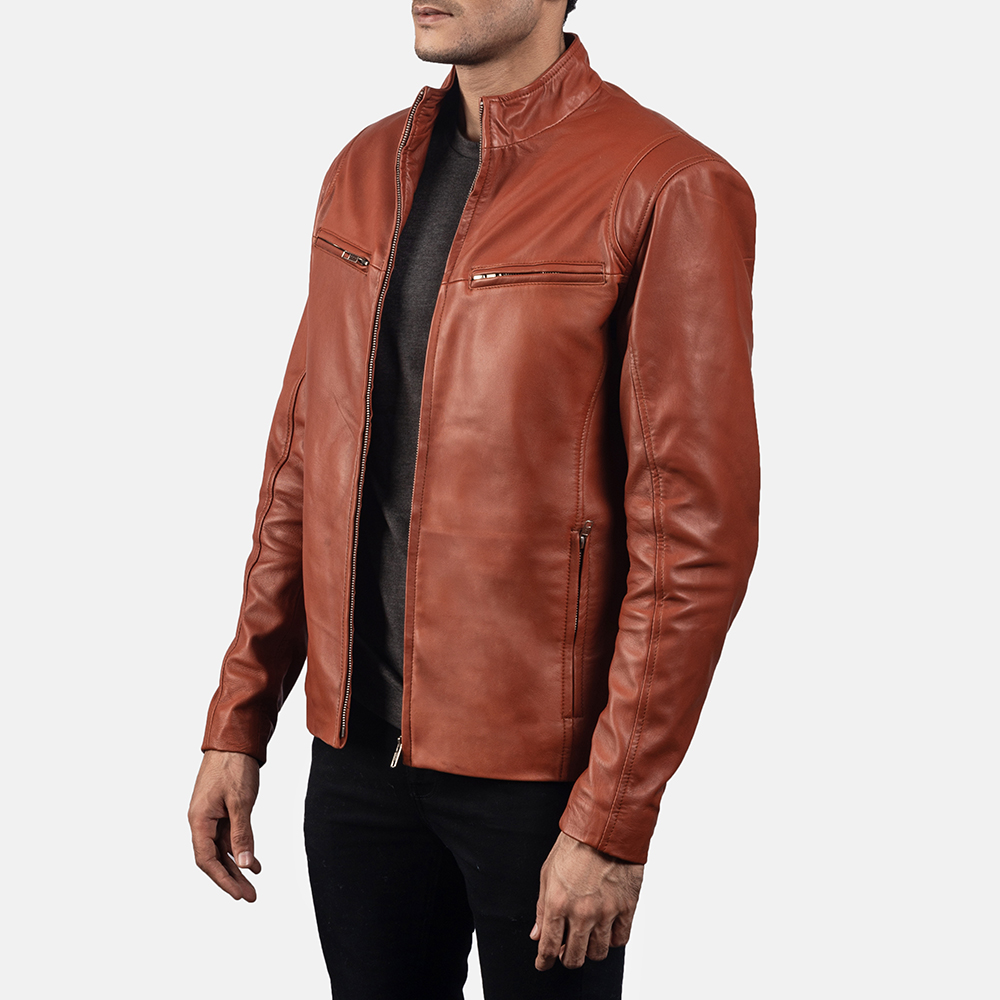 Mens Ionic Tan Brown Leather Jacket 2