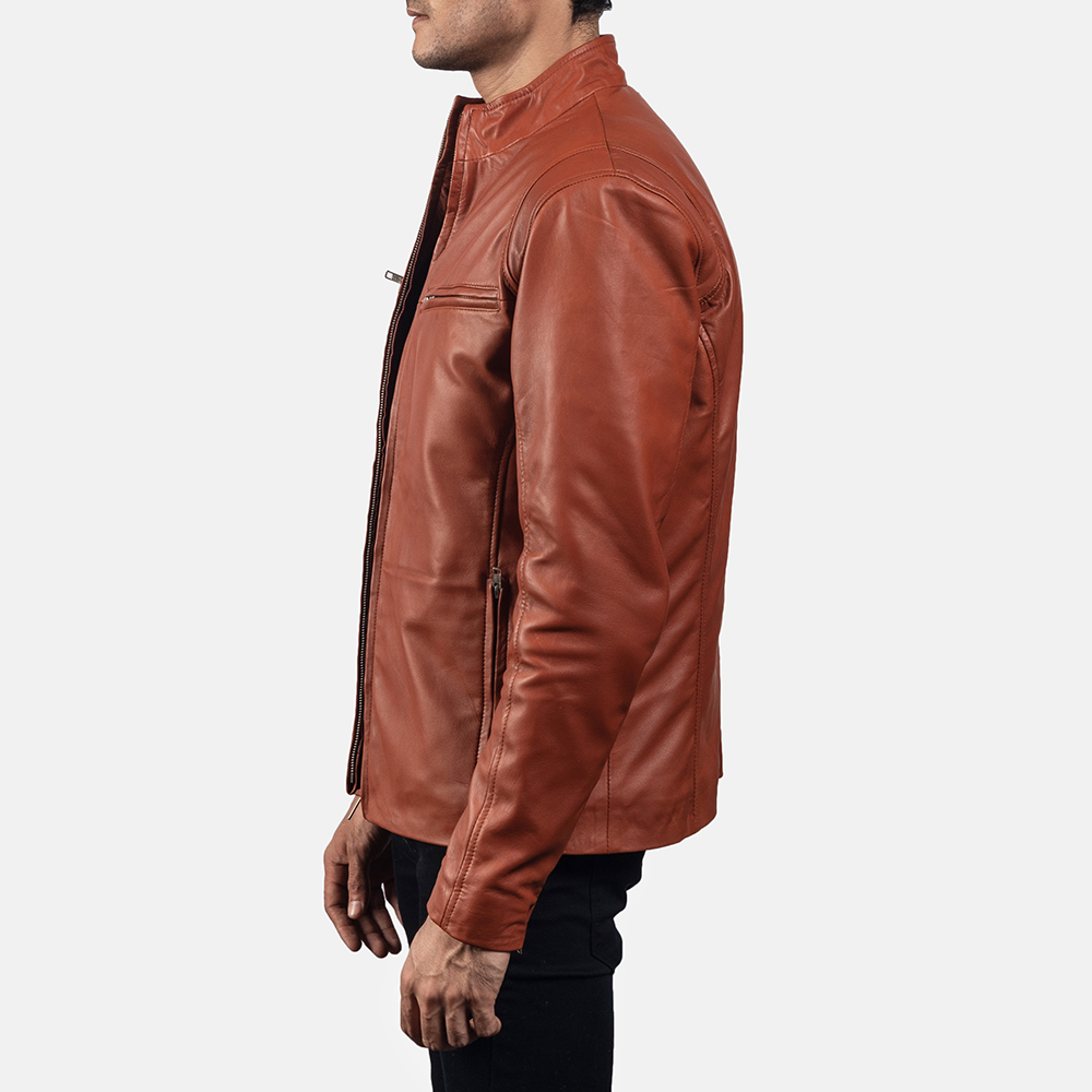 Mens Ionic Tan Brown Leather Jacket 3