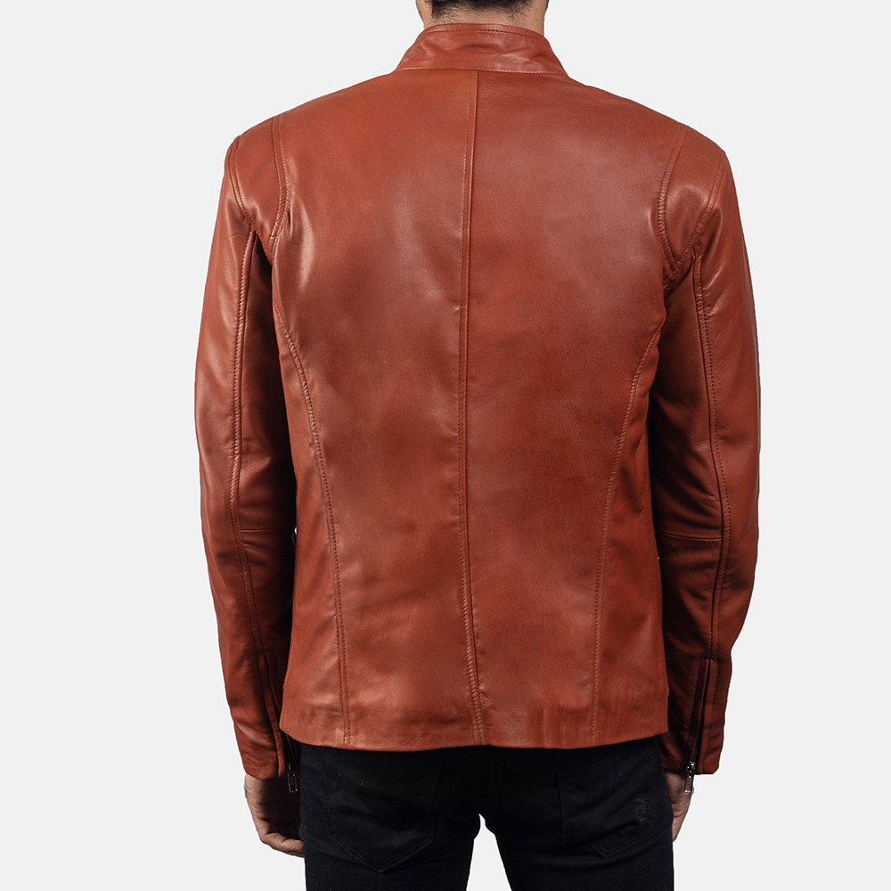 Mens Ionic Tan Brown Leather Jacket 4