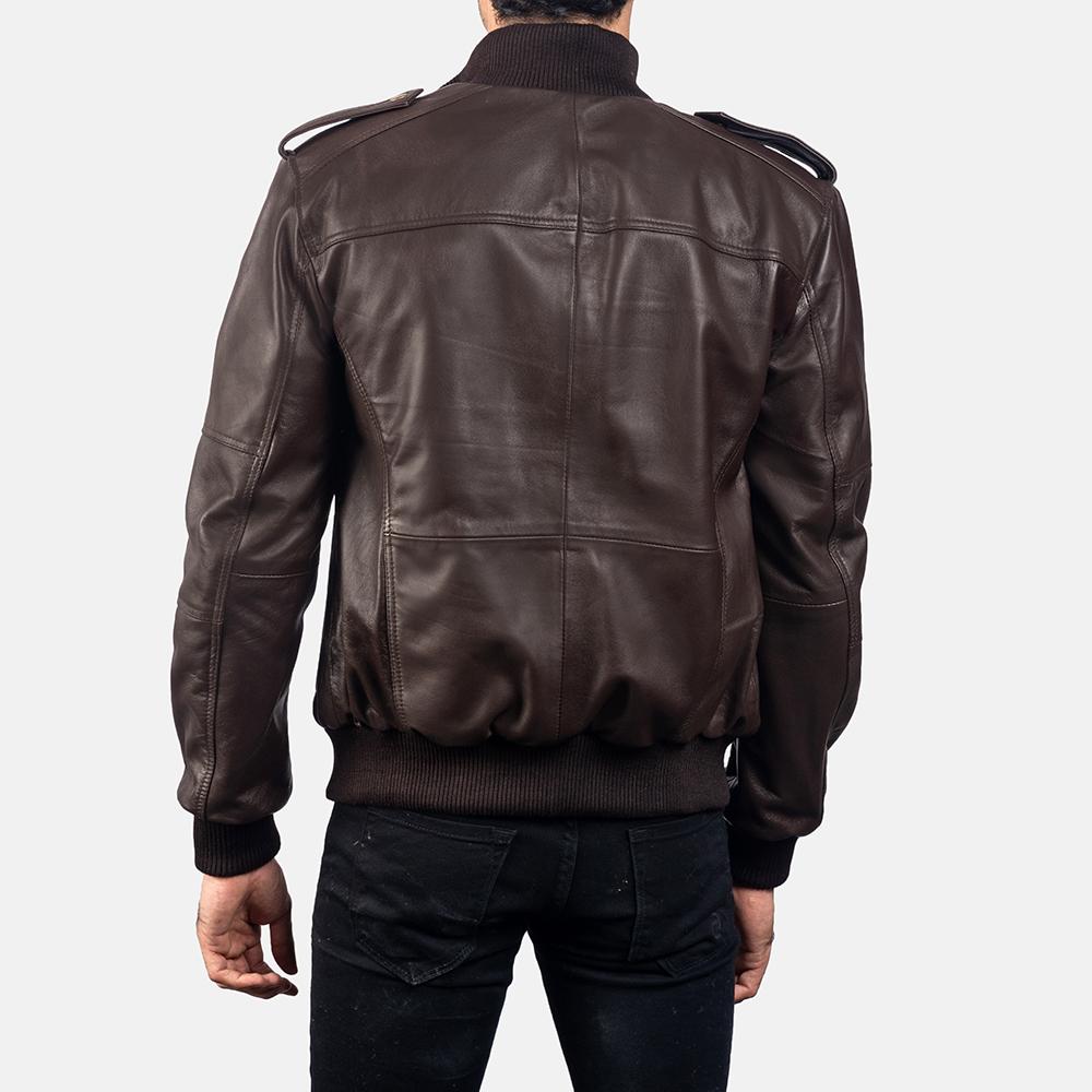 Mens Koke Brown Leather Bomber Jacket 4