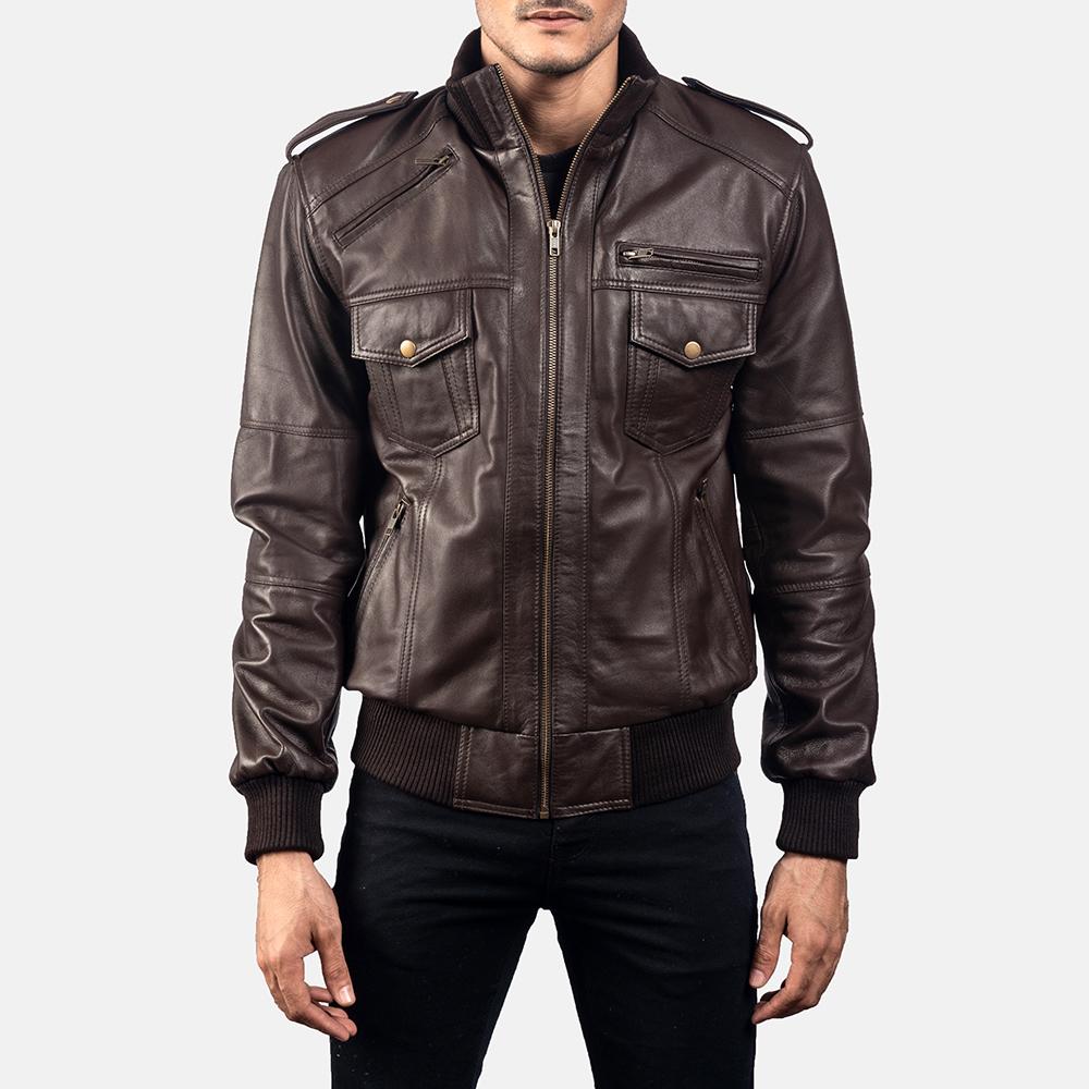 Mens Koke Brown Leather Bomber Jacket 5