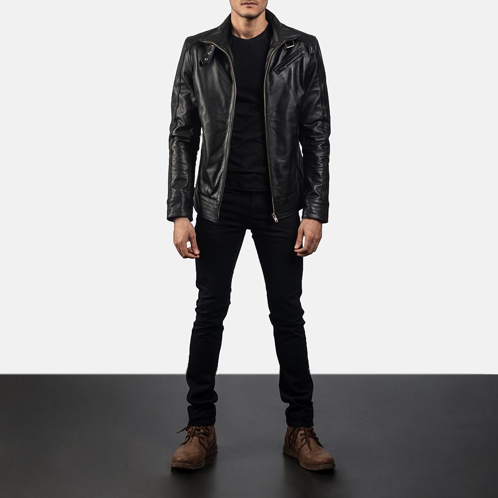 Mens Legacy Black Leather Biker Jacket 6