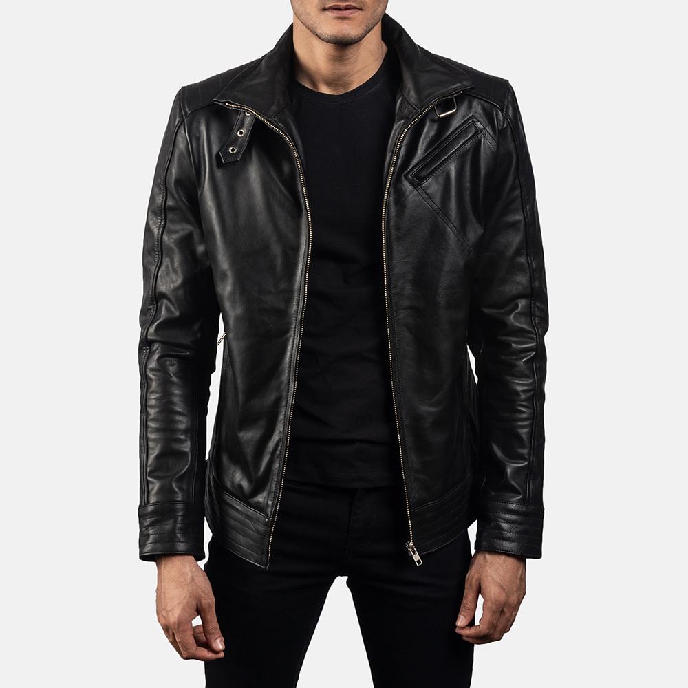 Mens Legacy Black Leather Biker Jacket 1