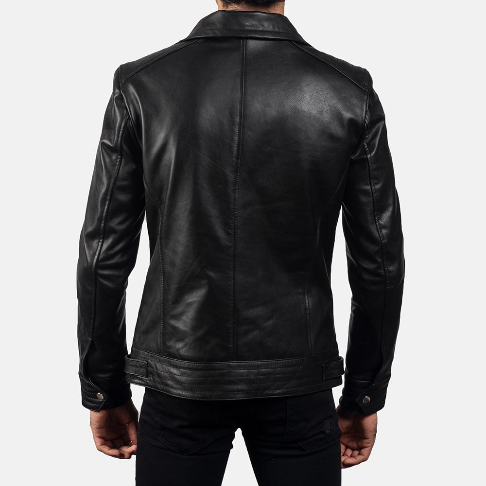 Mens Legacy Black Leather Biker Jacket 4