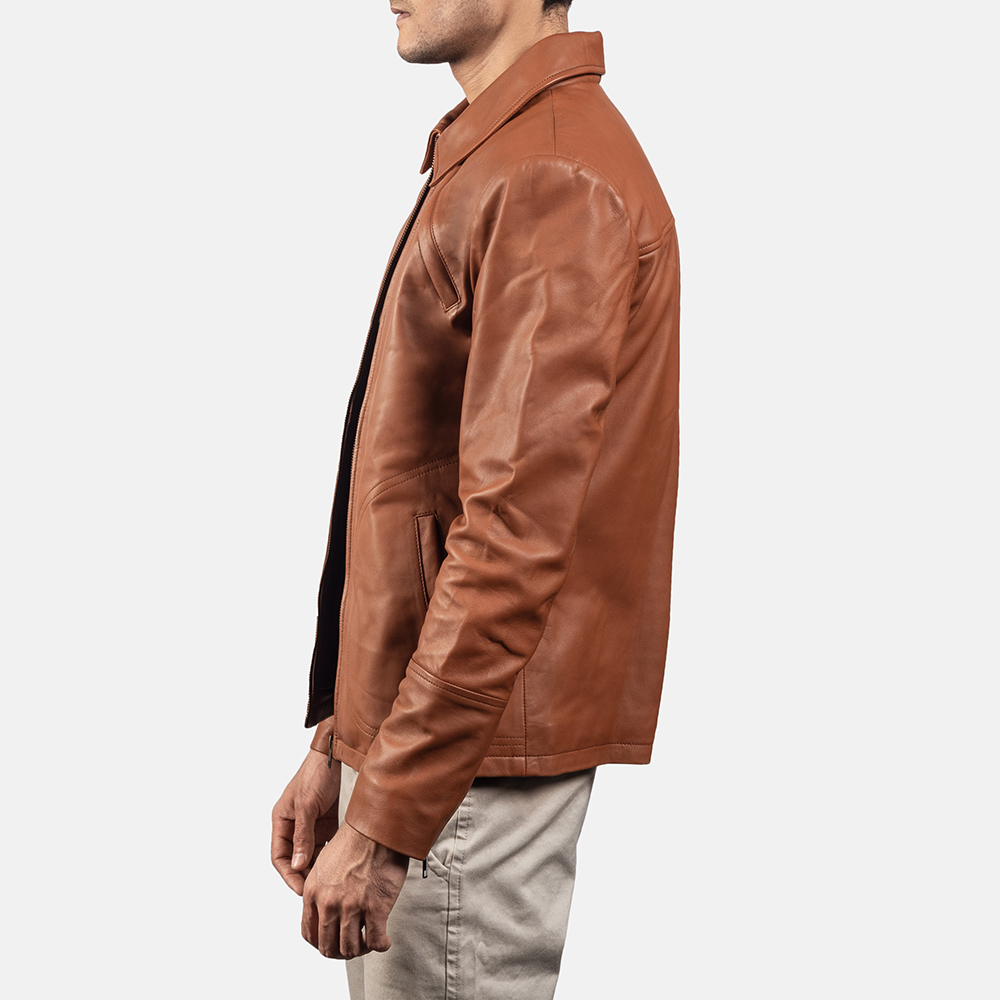 Mens Lenny Tan Brown Leather Jacket 3