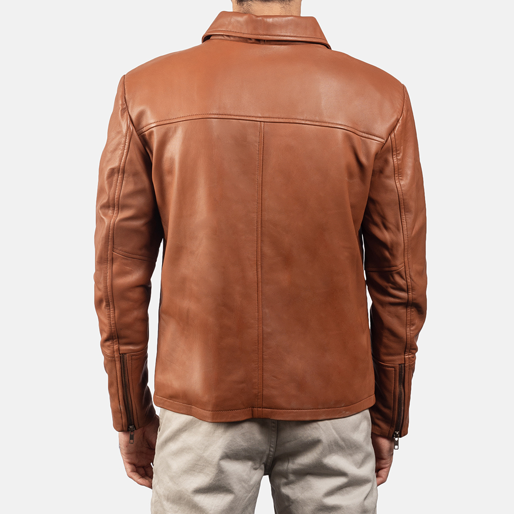 Mens Lenny Tan Brown Leather Jacket 4