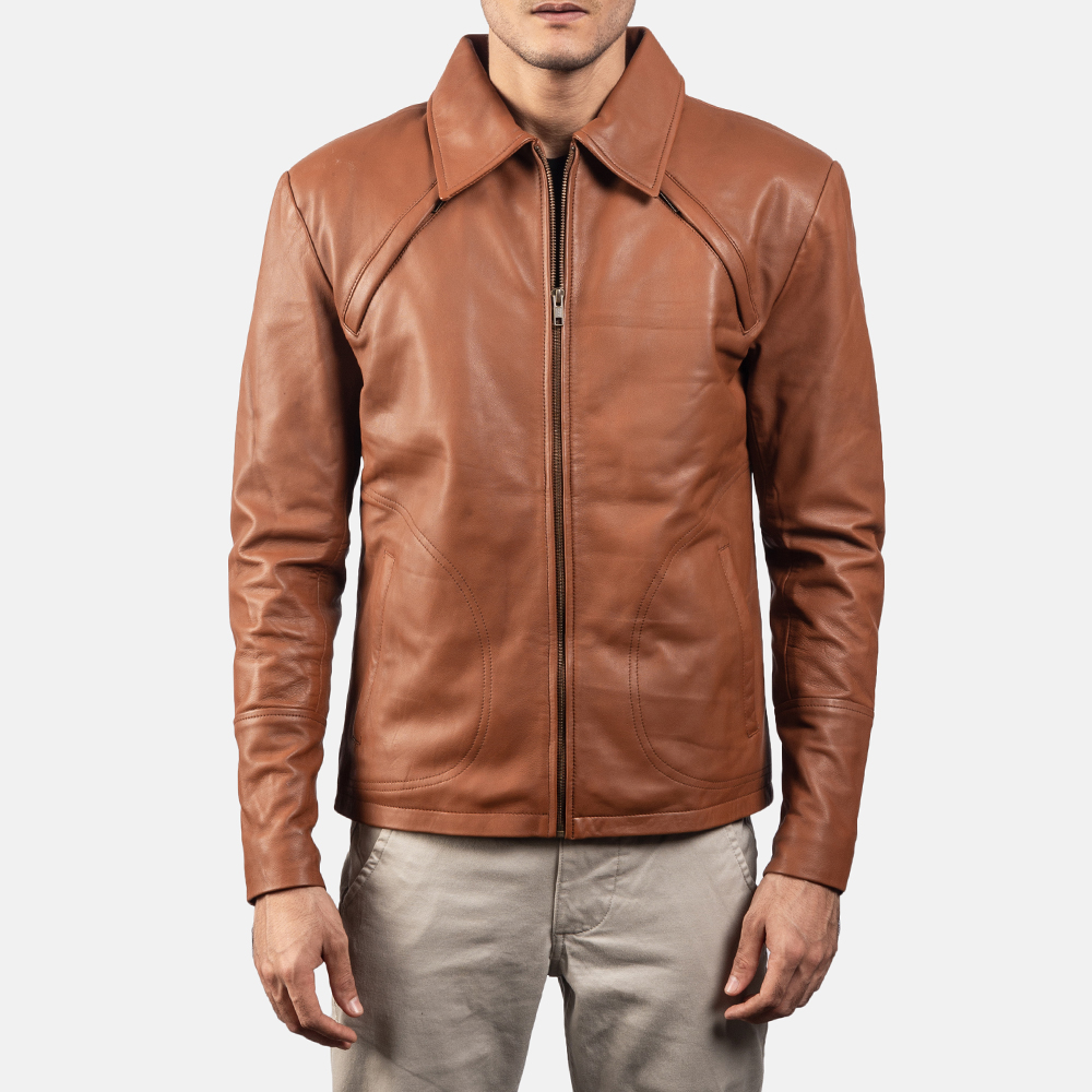 Mens Lenny Tan Brown Leather Jacket 5