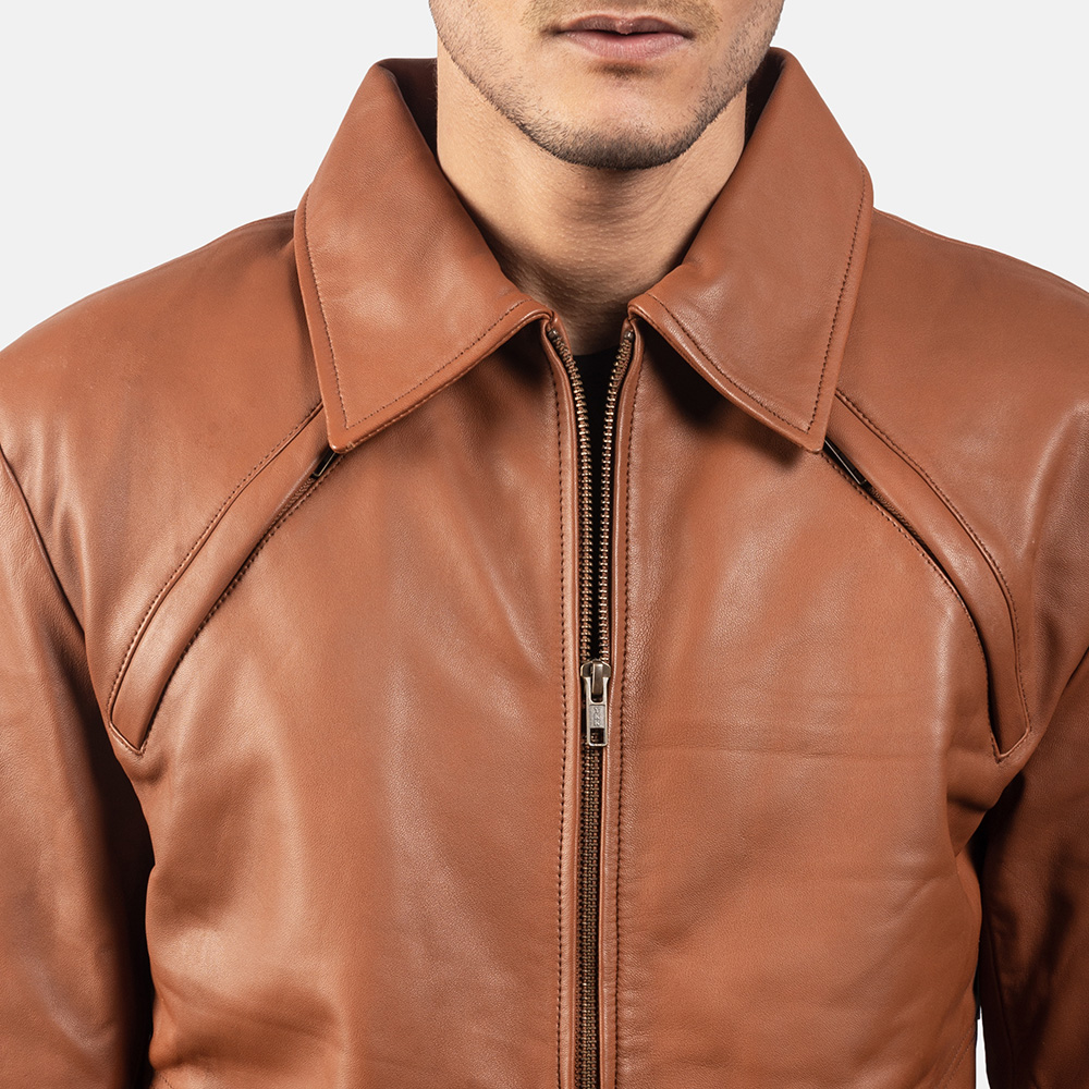 Mens Lenny Tan Brown Leather Jacket 6