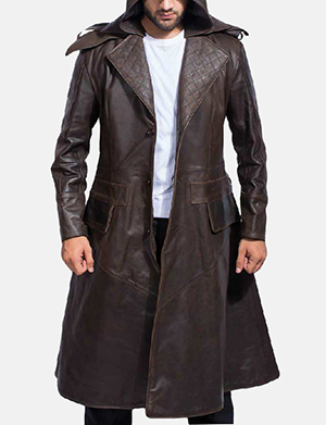 Sledgehammer Brown Leather Trench Coat