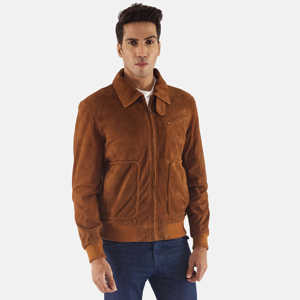 Mens Tomchi Tan Suede Leather Jacket 2